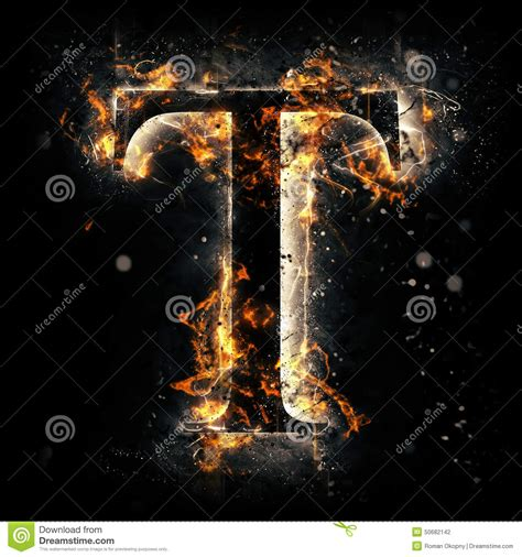 Fire Letter T Stock Illustration