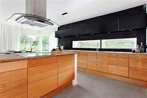 {black White Yellow} Black And Wood Modern Kitchen