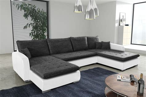 Schlafsofa Sofa Couch Ecksofa Eckcouch Weiss Schwarz