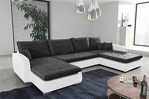 Eckcouch Mit Schlaffunktion Günstig : schlafsofa sofa couch ecksofa eckcouch weiss schwarz ~ Watch28wear.com Haus und Dekorationen