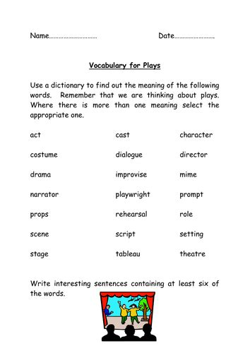 drama vocabulary by annecpaterson teaching resources tes