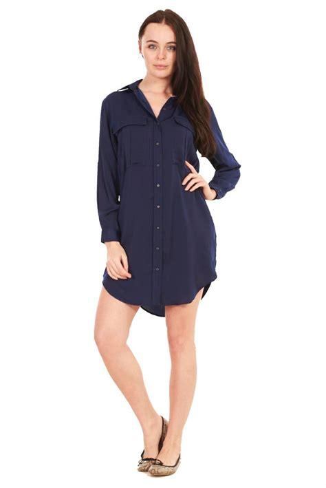 dressy blouse shirt dress womens navy khaki summer plain blouse
