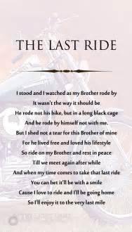 Memorial Motorcycle Poem Last Ride