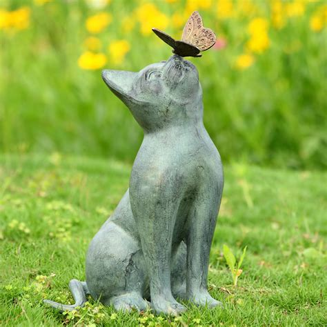 curiosity garden sculpture cat  butterfly spi san