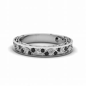 Vintage Looking Pave Wedding Ring For Women With Black ...