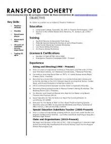 Professor Resume by Ransford Doherty Current Adjunct Theatre Professor Resume 1