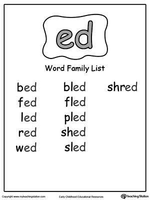 ed word family list word families word family list cvc