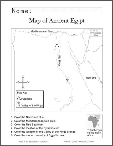 map of ancient egypt worksheet for kids grades 1 6 student handouts cc 1geography history