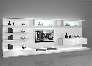white wall mounted modern tv cabinets for small living With living room wall cabinet design ideas