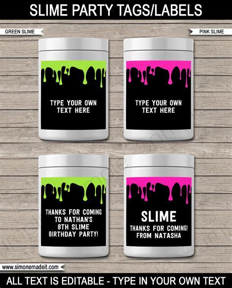 slime theme birthday party printables slime decorations