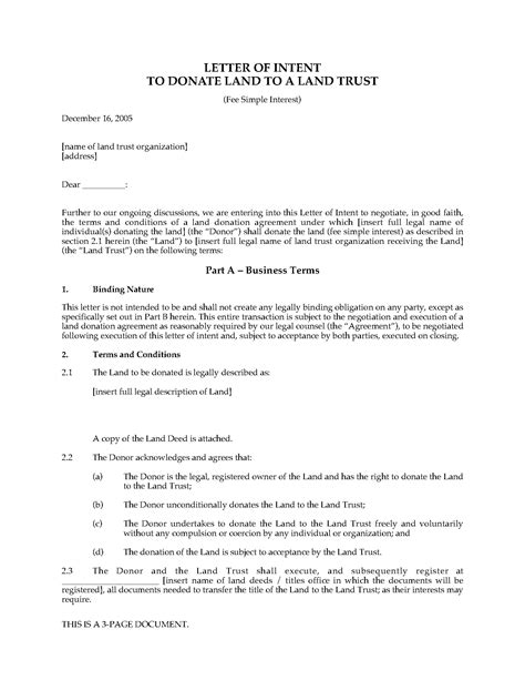 letter  intent  donate land  fee simple interest