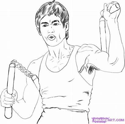 Bruce Lee Draw Step Drawing Dragon Drawings