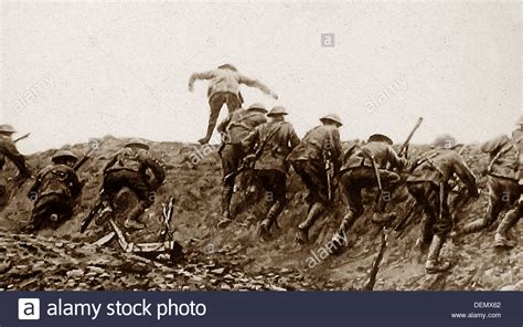 Over The Top Trench Warfare During Ww1 Stock Photo