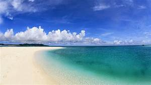 Tropical blue sea clear sky white sand beach view theme HD ...