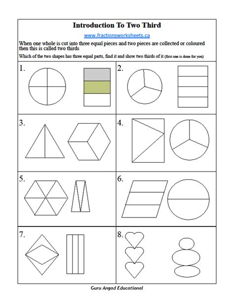 2nd grade basic fractions worksheets on two thirds steemit