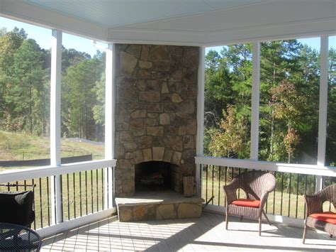 outdoor screened patio with fireplace designs screened