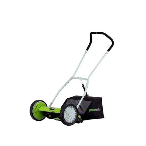 greenworks   manual push reel mower  bag shop