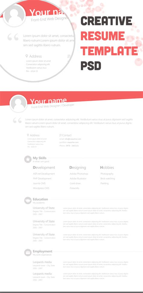 free creative resume template freebies creative resume