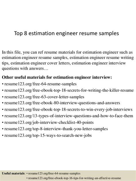 top 8 estimation engineer resume sles