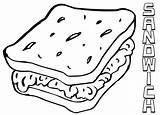 Sandwich Coloring sketch template