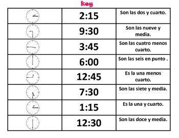 hora es telling time  spanish  spanish