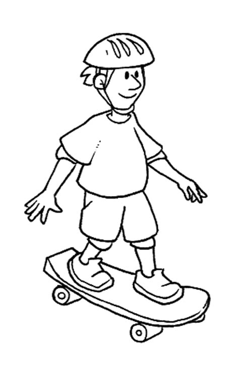 skateboarding boy  coloring page