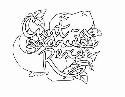 Coloring Pages Adult Word Swear Cuntasaurus Language