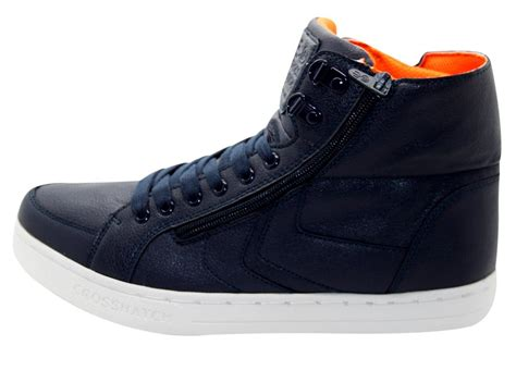 New Crosshatch Zip Fold Down Pu Hi Top Laceup Men Trainers