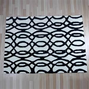 Tapis Rond Noir Et Blanc : beau tapis salon noir et blanc et a motifs moderne pour ~ Dailycaller-alerts.com Idées de Décoration