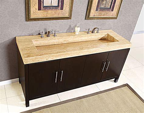 Silkroad Inch Travertine Top Bathroom Vanity