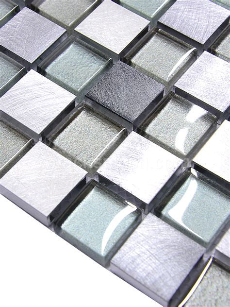 Modern Gray Blue Metal Glass Backsplash Tile   Modern