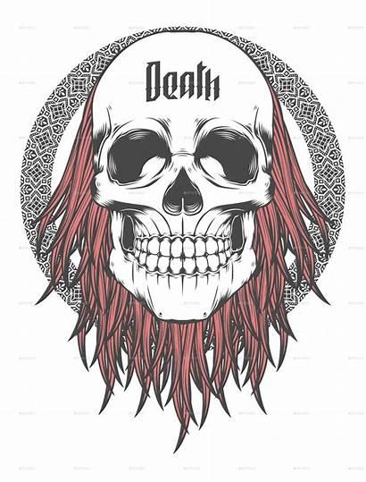 Skull Hair Death Illustration