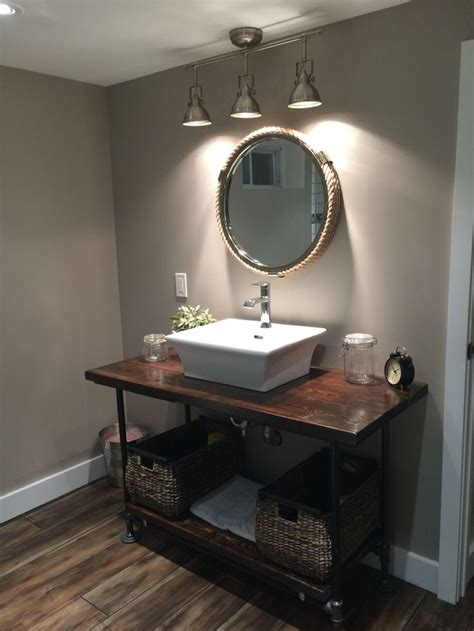 small basement washroom remodel rustic diy 2x4 stained