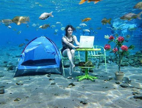 umbul ponggok spot fotografi bawah air  keren