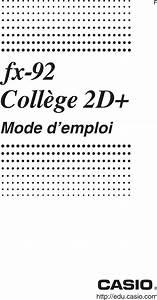 Casio Fx 92 College 2d  Users Guide Fr 92 College2d