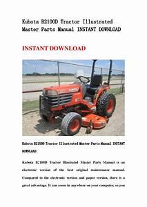 Kubota B2100 D Tractor Illustrated Master Parts Manual