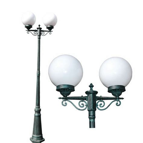 Outdoor Globe Lights by Tp Lighting 86 Quot 2 Globes Green Patina Outdoor Post Pole