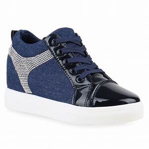 Damen Sneaker-Wedges Lack Sneakers Strass Turnschuhe 811913 Hot