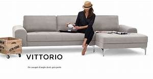 Vittorio un canape d39angle droit gris perle angles and for Canape cuir gris perle