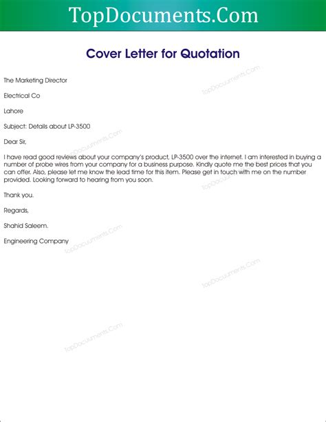 cover letter  price quote