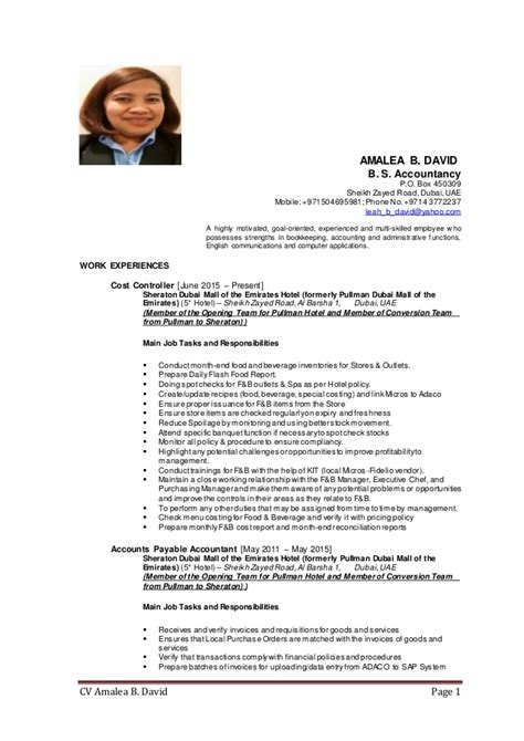 Cost Controller Resume by Cv Cost Controller