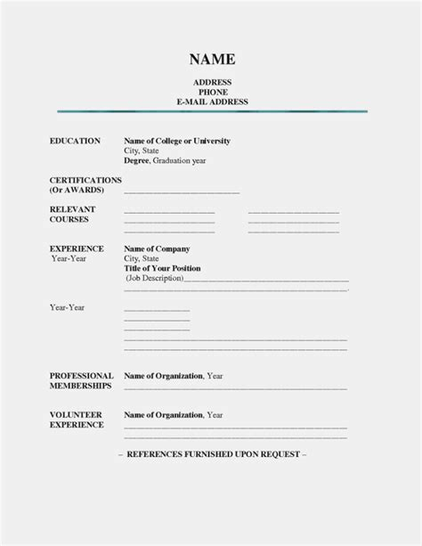 Forms Of Resumes by 15 Printable Resumes To Fill Out Rituals Resume Information