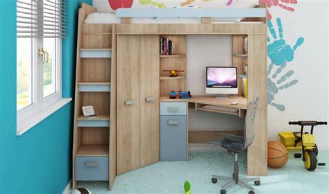 lit combiné armoire bureau lit surelev enfant avec rangement bureau et armoire intgr
