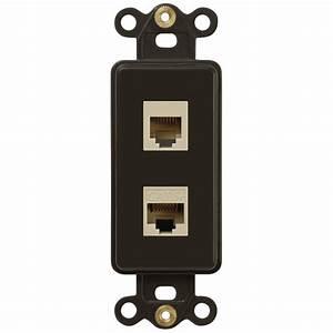 Single Phone Jack And Single Ethernet Data Jack Rocker