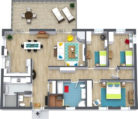 flor plans 3 bedroom floor plans roomsketcher