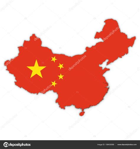 China Map Outline With Chinese Flag On White With Shadows