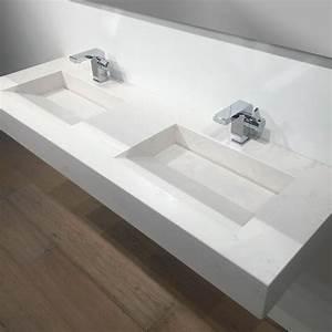 Meuble De Salle De Bain Double Vasque : plan double vasque salle de bain suspendu 141x46 cm pierre calacatta ~ Teatrodelosmanantiales.com Idées de Décoration