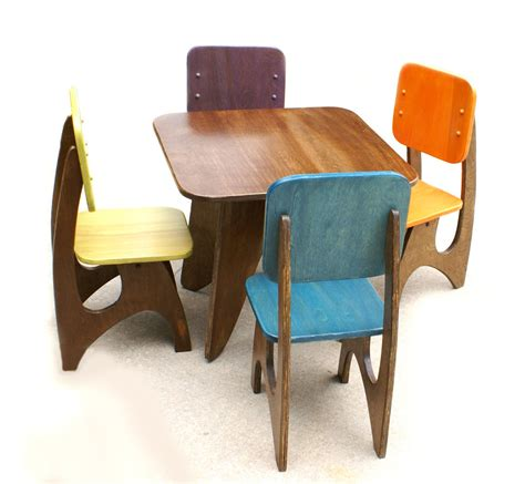 colorful modern table and chairs made from solid wood