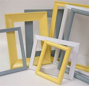 Yellow and grey home decor picture frames modern wall