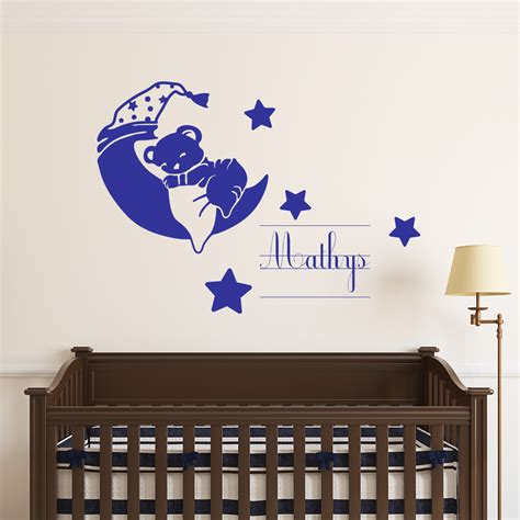 sticker pr 233 nom personnalis 233 ourson endormi mini stickers pr 233 nom perso ambiance sticker